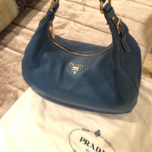 6f2d56d7bda6 Gently Used Prada Vitello Daino Blue Leather Hobo.  M 5b0c33bb31a37660281b15d6